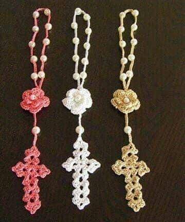 rosarios tejidos a gancho para recuerdos