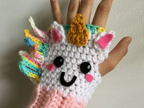 divertidos guantes tejidos para niños