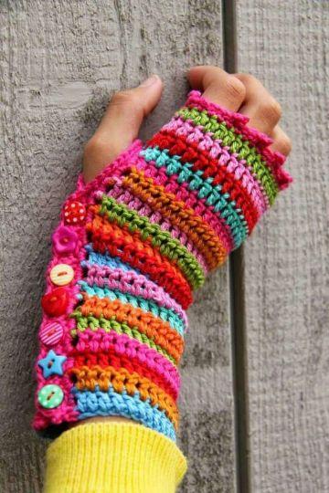 guantes tejidos para niños en invierno