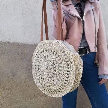 modelos de bolsas redondas tejidas