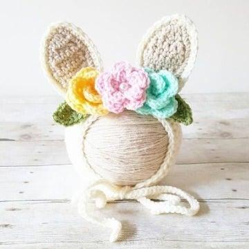 orejas de conejo a crochet para niña