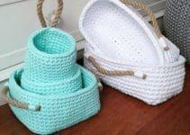 Geniales cestas tejidas a crochet a 6 colores