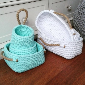 cestas tejidas a crochet ganchillo
