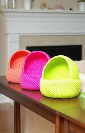 cestas tejidas a crochet paso a paso