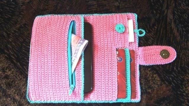 como hacer billeteras tejidas a crochet