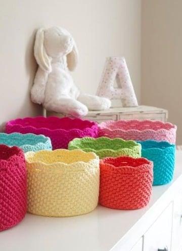 como hacer cestas tejidas a crochet