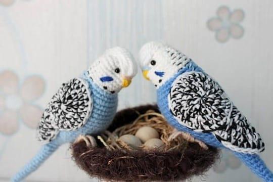 modelos de aves tejidas a crochet