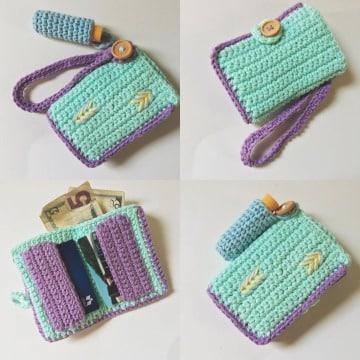 modelos de billeteras tejidas a crochet