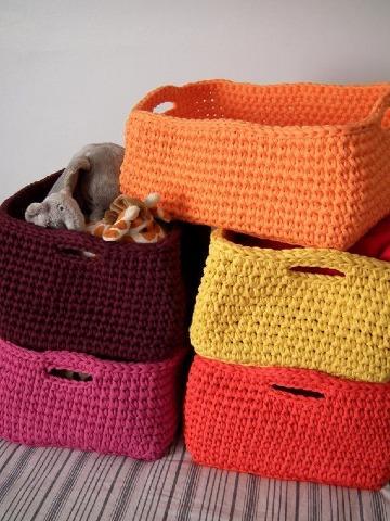modelos de cestas tejidas a crochet
