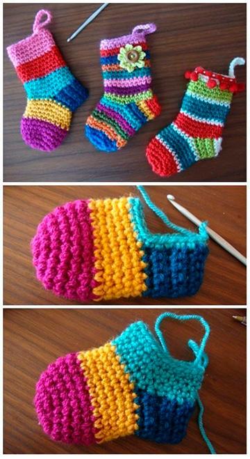 como hacer medias de navidad en crochet