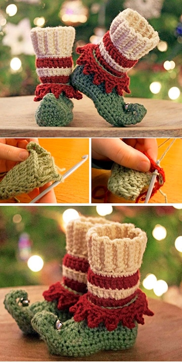 divertidas medias de navidad en crochet
