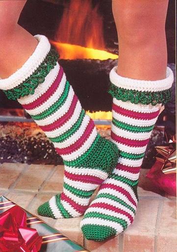 medias de navidad en crochet para mujer