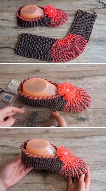modelos de babuchas tejidas a crochet