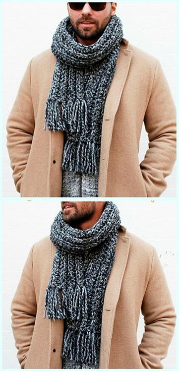 modernas chalinas a crochet para hombres