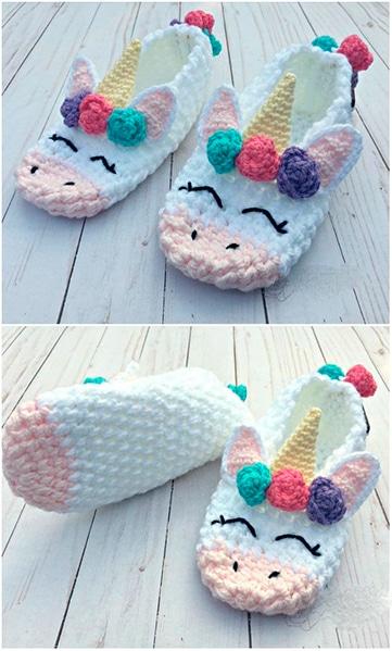 pantuflas tejidas para niña de unicornio