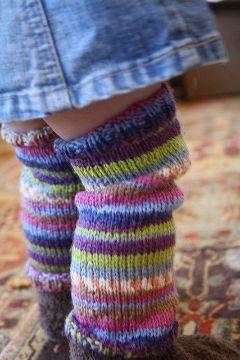 polainas tejidas para niñas de colores