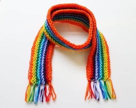 bufandas navideñas para niños arcoiris