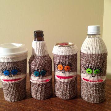 fundas tejidas para botellas divertidas