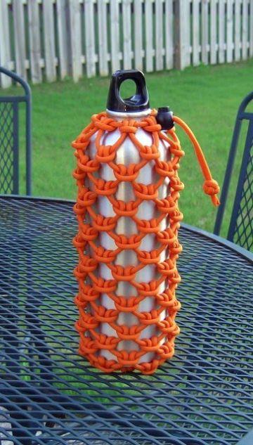 fundas tejidas para botellas y termos