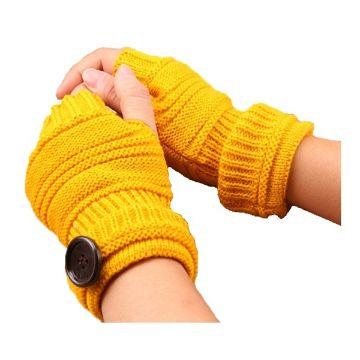 guantes tejidos sin dedos con detalles