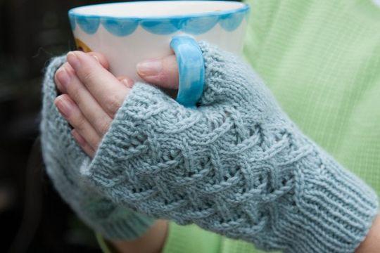 guantes tejidos sin dedos para invierno