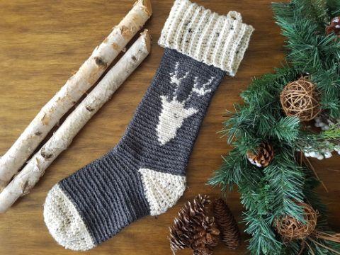 medias navideñas en crochet renos