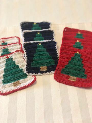 posavasos a crochet navideños cuadrados