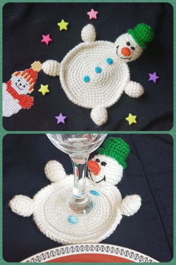 posavasos a crochet navideños para copas