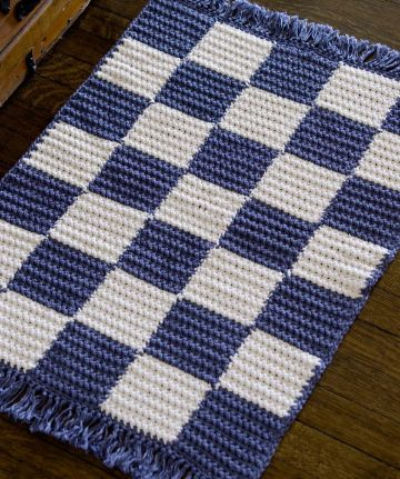 alfombras navideñas a crochet a dos tonos