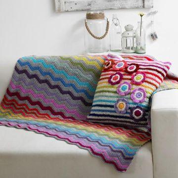 colchas de cama a crochet coloridas