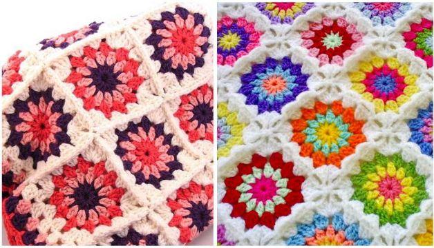 cubrecamas a crochet de colores con flores
