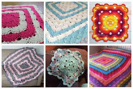 cubrecamas a crochet de colores diferentes figuras