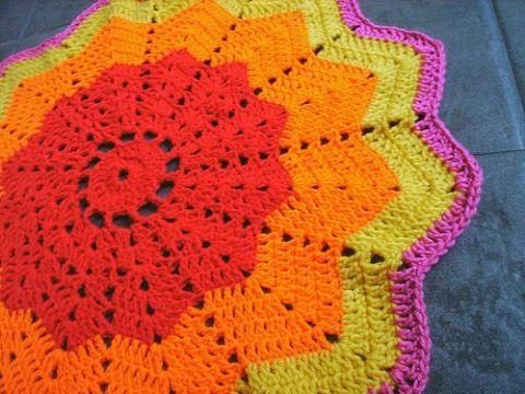 estrella tejida a crochet tapetes