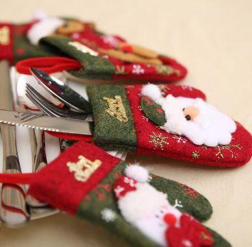 guantes navideños para cubiertos bonitos
