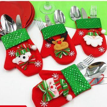 guantes navideños para cubiertos con detalles