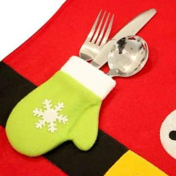 guantes navideños para cubiertos sencillo