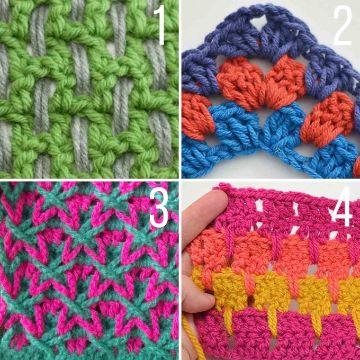bufandas de colores a crochet diversos puntos