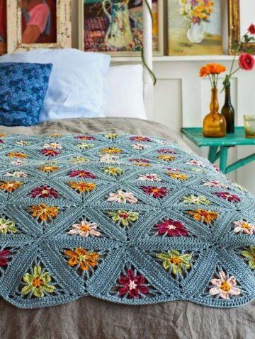 colchas a crochet para cama cubrecamas