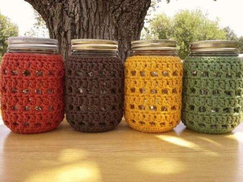 tarros forrados a crochet decorativos