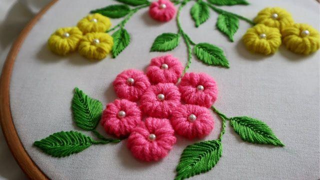 bordados en lana a mano flores