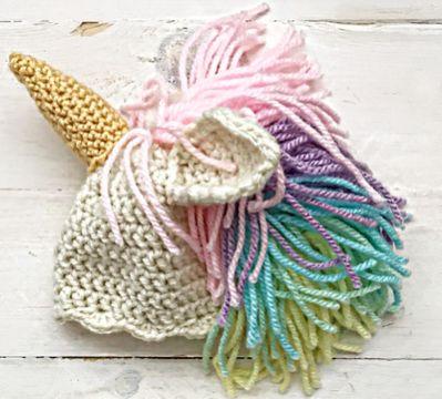 gorros de unicornio a crochet cabello con hilos