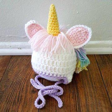 gorros de unicornio a crochet cuernos rellenos