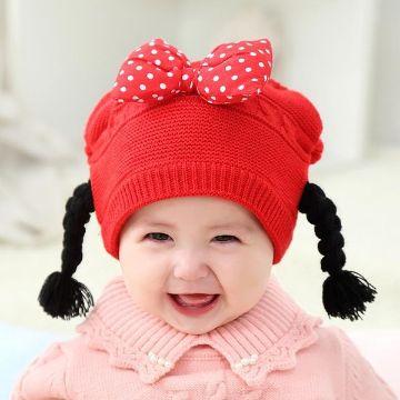 gorros tejidos con coletas para niña bebe