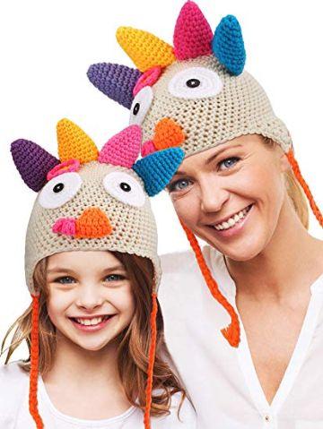 gorros tejidos con coletas para niña divertidos