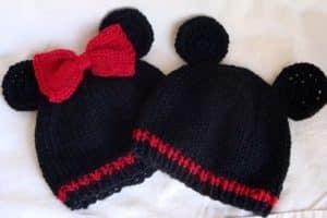 2 puntos para gorros tejidos de mickey mouse niño y niña