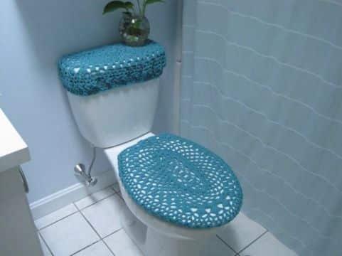 adornos a crochet para el baño para cubrir muebles