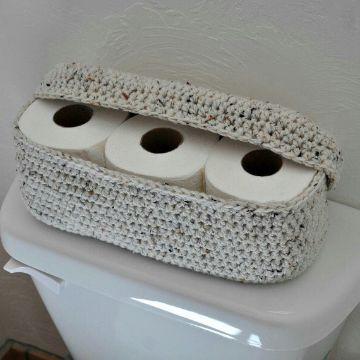 adornos a crochet para el baño para organizar