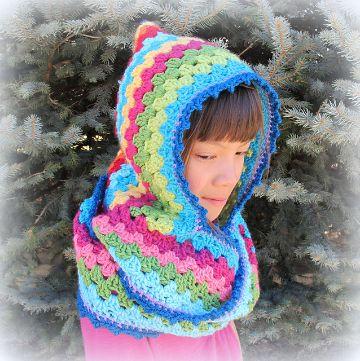capucha con bufanda a crochet coloridos