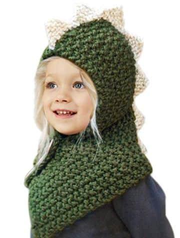 capucha con bufanda a crochet de dinosaurio