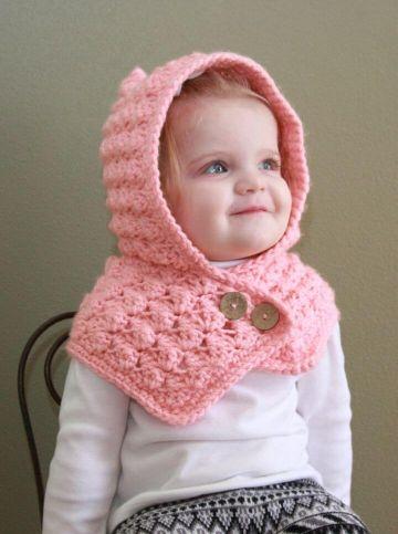 capucha con bufanda a crochet para niños